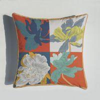 Nouveau 45 * 45cm Coussin de coussin de la série Orange Coussins de Chevaux Fleurs d'impression Coussin d'oreiller pour chaise à la maison Canapé Décoration Taie d'oreiller Zze5184