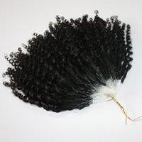 CE-Zertifizierte Kinky Jerry Curly Micro Ring Haarverlängerungen 400s / lot versaute lockige Schleife Haar Natürliche Farbe Schleife Haar