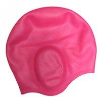 수영 모자 방수 탄성 실리콘 보호 귀가 긴 머리 스포츠 수영 풀 모자 모자 남성 여성을위한 자유로운 크기