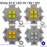 Bulbs 10x Cree XT-E XTE 3V 6V 12V 4Chips High Power LED Emitter Cool White 6500K Warm 3000K Neutral 4500K Royal Blue 450nm