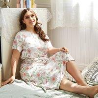 2021 جديد سريع الشحن بالجملة البيجامة مجموعات امرأة زهرة الملابس الصيفية النوم زائد حجم ثوب النوم المرأة المنزل بدلة فضفاض البشكير KR3C