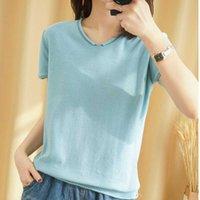 Mujeres Cato Effen Color O-cuello suelto Dunne Top Short Mouw Camiseta 2020 Trui de verano