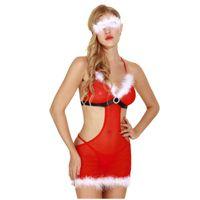 Bras Sets Ladies Sexy Lenceria Mesh Stitching Strappy Big Backless Underwear Christmas Red Lingerie Skirt Brassiere Bielizna Damska 674