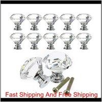 Cabinet Pull 30mm Diamante Accessorio per mobili Diamante Chiaro Porta in vetro cristallo Pull Drawer Maniglia Maniglia Vite per Home Cucina Cassetto XNKGX 2GQVX