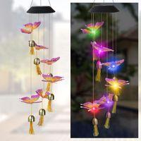 Lámparas solares Lámpara LED Colorida Viento Chime Hummingbird Libélula Mariposa Bell Windchime Garden Paisaje Colgando Decoración Linterna