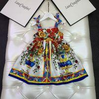 Vestido de niña de diseñador Vestido de niña 2021 Nueva falda de encaje de verano Funda corta Chicas infantiles Halter