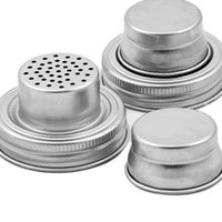 Shaker Lids Stainless Steel cover for Regular Mouth Canning Jars Rust Proof Cocktail Shaker Dry Rub Cocktail 70mm GWB11192