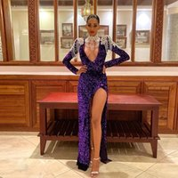 2021 Sexy Purple Split Sequin Mermaid Prom Dresses Deep V Neck Appliques Beading Evening Party Gown with Long Sleeve