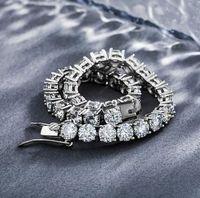 "Hip Hop 925 Sterling Silver Mens Ladies Tennis Bracelet 6.5-8"" 3mm 4mm 5mm Moissanite One Row Bracelets"