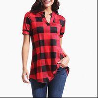 Moda Rahat Bayan Gömlek Ekose Gömlek Kadın Çekleri Uzun Kollu V Boyun Bluz Bayanlar Gevşek Düğme Kafes Baskı İş Giyim