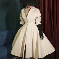 Le Palais Vintage Vintage original Vintage collecte de la taille Beige Beige manteau laine Streetwear Streetwear V-Col V-cou occasionnel Manteaux 210218