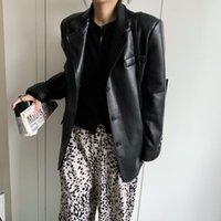 Women's Leather & Faux Black Oversized Blazer Women Long Sleeve Soft Light Spring Jacket Coat Fashion Autumn 2021 Drop