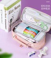 Pencil Cases Three-layer Canvas Case Large-capacity Stationery Storage Box Korean Bag Simplicity School Supplies