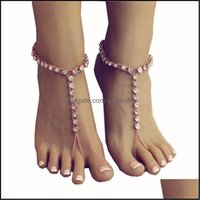Anklets Jewelry2Pcs Barefoot Sandals For Women Ts Chain Bracelet Foot Jewelry,Footless Beach Wedding Ankle Jewelry Drop Delivery 2021 P9Rqk