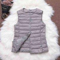 Fitaylor 90% ультра легкая белая утка вниз женское жилет тонкое пальто без рукавов куртка V воротник или O 210909