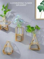 Duvar Asılı Vazo Dekorasyon Altın Demir Cam Hidroponik Konteyner Aşk Yıldız Çiçek Standı Geometrik Duvar Asılı 2021 Yeni