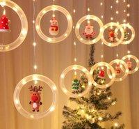 Natal conduziu luz de corda luz dos desenhos animados pingentes de santa claus xmas chapéu rena festa férias janela decoração pátio atmosfera adereços poder USB