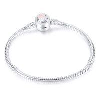 Pulsera de diseñador 1 unids flor plateada S plateado S Cadena de serpiente Ajuste de encanto Charm Beads para Pandora Bangle Mujer Girl Gifts BR010