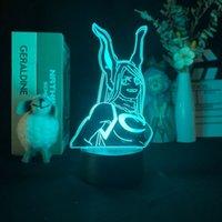 Carino anime notte sensore luce led rumi usagiyama figura 3d lampada lava my eroe accademica bambini luce notturna festa di compleanno decorazione regalo