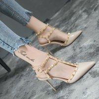 높은 굽 신발 여성 미세한 샌들 유럽 섹시한 리벳 Baotou 신발 yi Zi Kou 스트랩 팁 슈퍼 하이힐 v3ef #