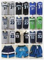ErkeklerinMinnesotaTimberwolvesGerileme Kevin 21 Garnett Karl-Anthony 32 Kasabalar Andrew 22 Wiggins Şort Basketbol Formaları Siyah