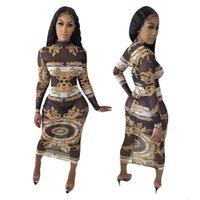 패션 의류 스타일 유럽 여성 패션 반투명 슬림 허리 O 넥 긴 소매 Bodycon 드레스 플러스 사이즈