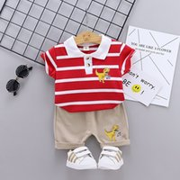 Baby Boys Summer Outfits New Children Dinosaur Stripe Lapel Short Sleeve Tops + Shorts 2pcs Sets Kids Toddler Casual Clothes Sets C6898