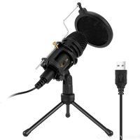 Condenseur Microphone Professionnel Portable Portable Karaoke Podcasting Live Broadcasting Streaming Mic avec microphone de bureau trépied