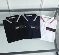 Tasarımcı Monclair Mens Polos Lüks Şerit Mektup Baskılı Erkekler S Polo Tişörtleri Moda Çift Boncuk Marka Butik Katı Renk En Kısa Tees