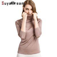SuyadaDream Silk Shirts Turtleneck Mangas de manga larga Sólido Slim Fit Fiting Camisa Primavera Otoño Top XXXL 210310