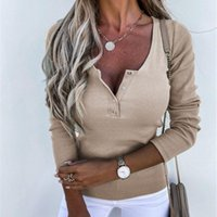 Women's T-Shirt Fashion Autumn Winter Tshirt Top Solid Color Long Sleeve T Shirt For Women Slim-Fit Button Knitted Jumpers