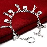Freies Verschiffen Damen Sterling Silber Überzogene Armband, 925 Silber Platte Ketten Link Armband Schmuck MDSB108