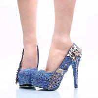 Royal Blue AB Crystal Wedding Dress Shoes with Phoenix Women High Heels for Party Rhinestone Bride Shoes Cinderella Prom Pumps Qglbf
