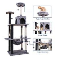 2021 New Ru Doméstico entrega de gato Playhouse de madeira bola de pet pulando de escalada brinquedo quadro de gato coçando pó 2qho