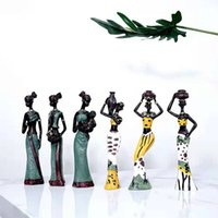 3 Pz Retro African Lady con vaso Ornamento Etnico Statua Scultura Cultura nazionale Figurina Figurina Home Decor Art Artigianato Regali