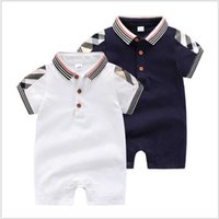 Clothes Retail Baby Summer Short Sleeve Rompers Toddler Cotton Jumpsuits Infant Turn-down Collar Onesies Newborn 0-24Months