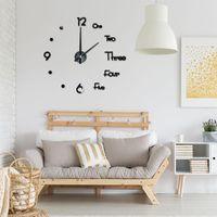 Wall Clocks DIY Digital Clock 3D Sticker Modern Design Large Silent Home Office Decor Watch For Living Room Decoration