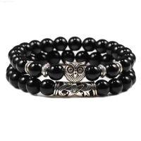 Buddha 2pcs Lava   Set Bracelet Tiger Eye Bead Stone Bracelets Healing Yoga Elastic Bangles Handmade Strand Homme Lover Jewelry