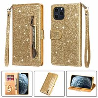 Bling Glitter Cases para iPhone 13 12 11 Pro MAX XS XR 6 7 8 PLUS SE2020 CUBIERTA DE CUERO DE CUERCO DE CUERO CUBIERTA DE LA MADRE