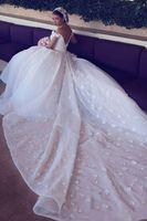 Мусульманка 2021 Новые Off Beed Lace 3D Appliques Линия Свадебные платья Тюль Пухлый Сексуальный Поезд Часовня Плюс Размер Свадебные Платья Свадебные платья