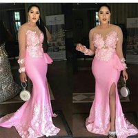 Slit Mermaid Evening Dress Sheer Long Sleeves Pink Flower Bridesmaid Dresses Formal Party Gowns