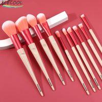 Makeup Brushes ELECOOL Kit Natural Tool Pencil Cosmetics Foundation Highlighter Face Set Of Bronzer Eyeshadow Lip Tools