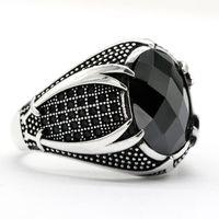 Islamischer Ring für Männer mit schwarzem CZ Stein 925 Sterling Silber Vintage Religiöse Türkische Schwerter Männliche Ring Silber Feinschmuck Geschenk