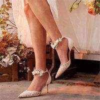 Dress Shoes Wedding Women 2021 Sheepskin Lace Flowers Rhinestone Bride Bridesmaid High-heeled Stiletto Pointed