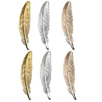 Bookmark 6PCS Handmade Retro Gold Silver Plated Page Markers Students Stationery Metal Feather Book Darts
