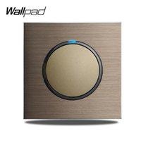 스마트 홈 제어 월드 L6 1 갱 단일 푸시 버튼 벽 라이트 스위치 브라운 브러시 알루미늄 새틴 금속 패널 약한 파란색 LED 표시기