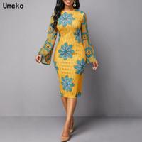 Günlük Elbiseler Umeko 2021 Afrika Kadınlar Için Dashiki Baskı S Tribal Etnik Moda O-Boyun Bayanlar Giysi Seksi Elbise Robe Partisi