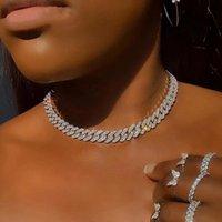 Цепи Punked Out Out Crystal Cuban Link Цепи ожерелья для женщин Мужские Золотые Серебряные Цвет Коренастый колье Мода Хип Хоп Ювелирные Изделия