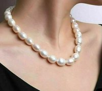 9-10mm Drop Shape White Natural Pearl Beaded Necklace 18inch 925 Silver Clasp Women's Gift Jewelry