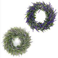 Венок для лаванды висит украшения искусственные венки для рождественской рождественской рождественской вечеринки свадьба имитация лаванды голова носить голову